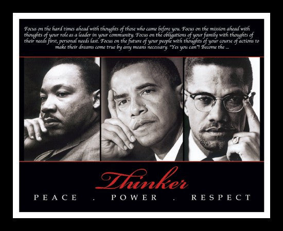 The Thinker (Martin Luther King, Malcolm X and Barack Obama) by Anonymous (Framed)
