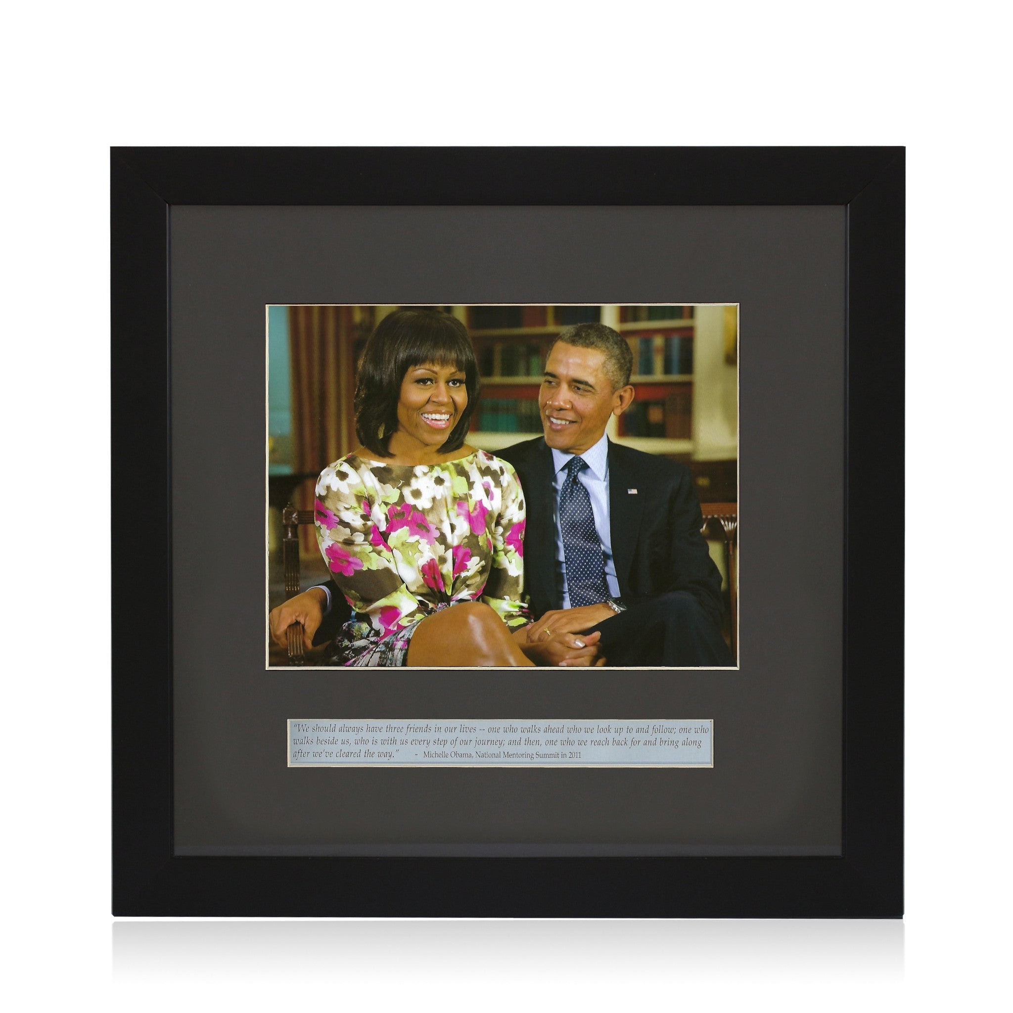 Three Friends (Barack and Michelle Obama) by Anonymous (Framed Art Print)