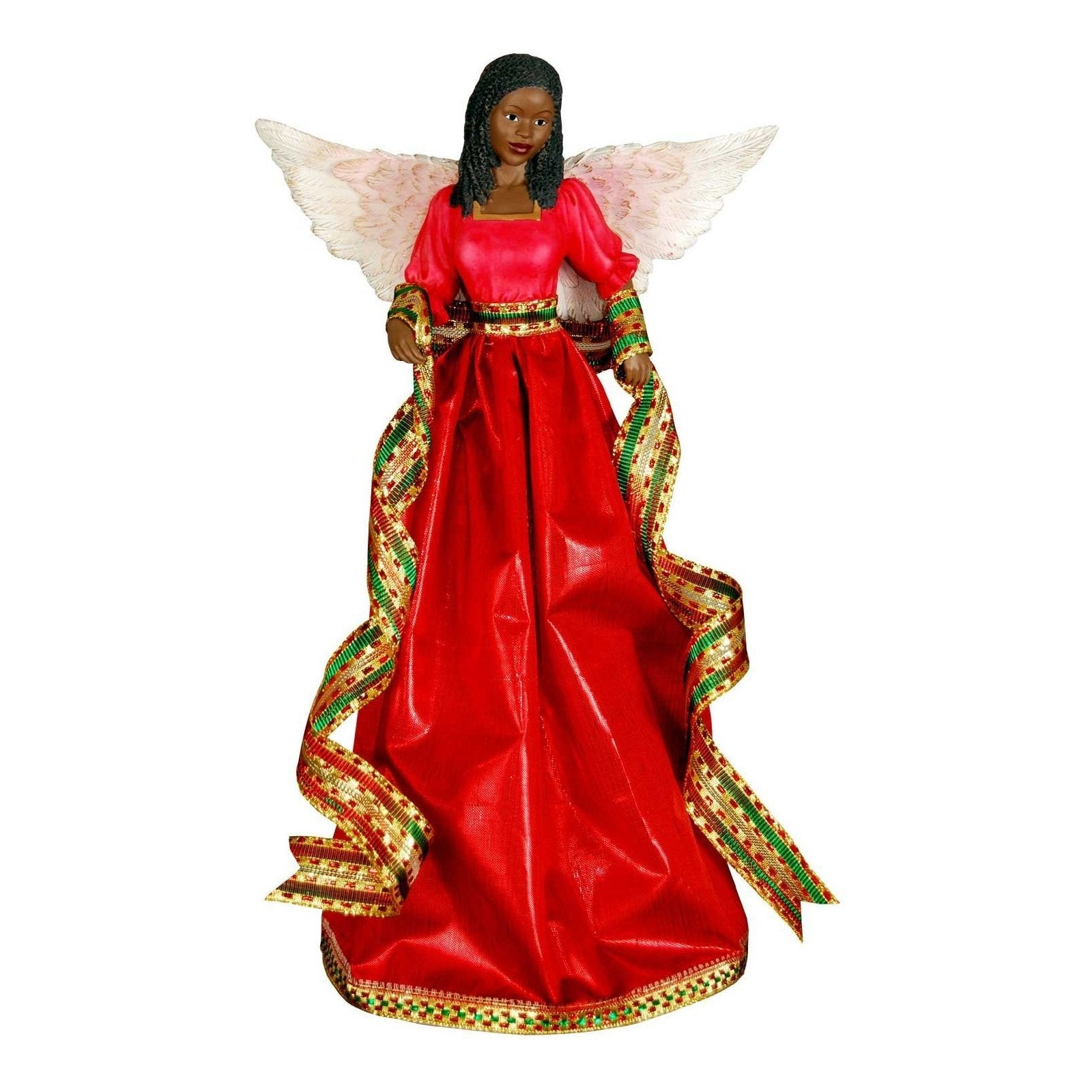 Tiffany Angel: African American Christmas Tree Topper (Red)
