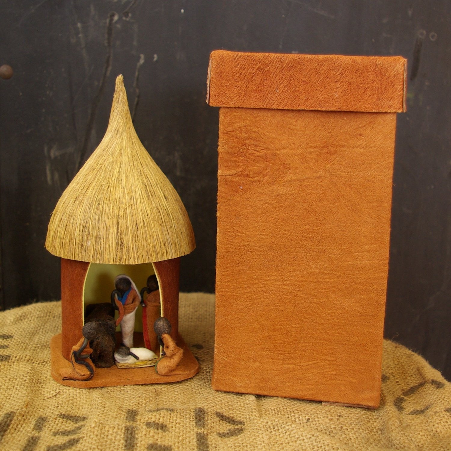 Ugandan Bark Hut Nativity Set