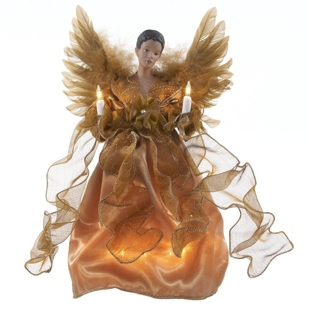 Gold African American Angel Tree Topper with Lights by Kurt S. Adler