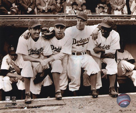 Jackie Robinson First Day with Spider Jorgenson, Pee Wee Reese, and Ed Stankey
