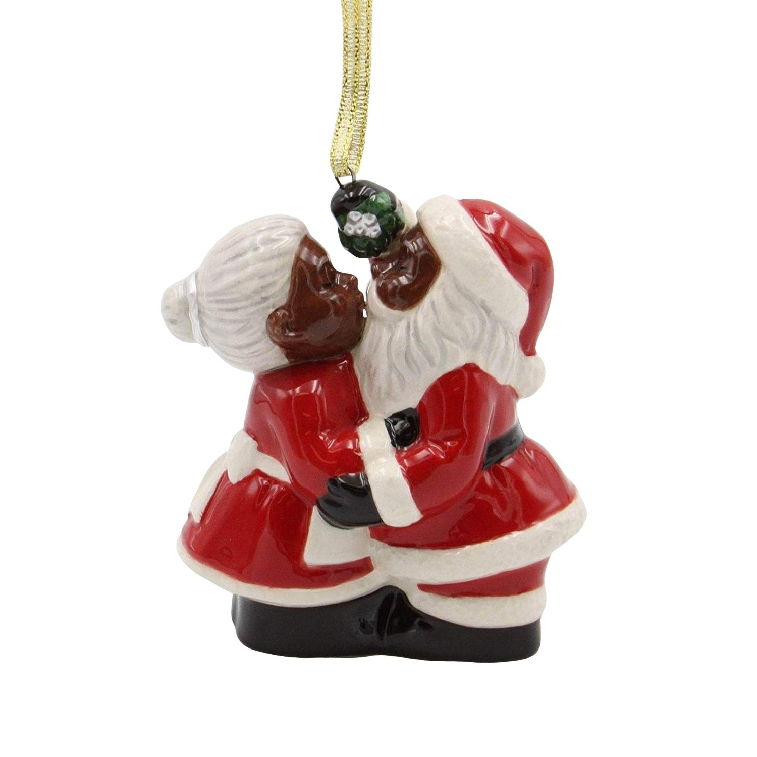 Under the Mistletoe: African American Mr. and Mrs. Santa Claus Ornament
