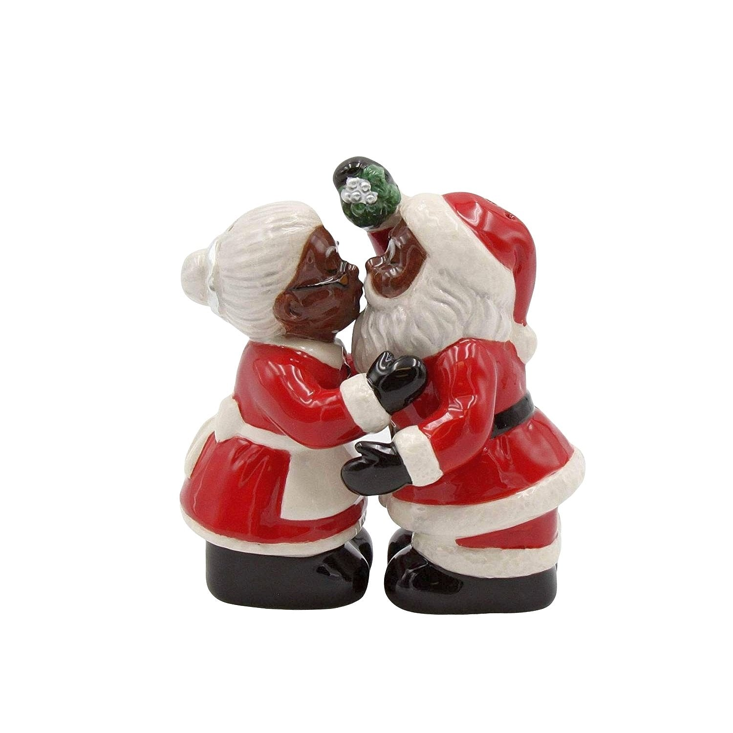 Under the Mistletoe: African American Mr. and Mrs. Santa Claus Salt and Pepper Shaker Set
