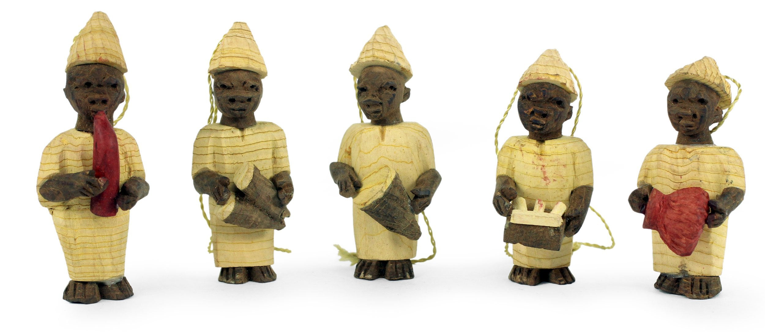 Welcoming Band: Authentic African Hand Made Kapok Wood Christmas Ornament Set by Francis Agbete