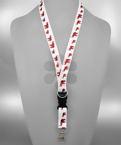 White and Crimson Elephant Lanyard/Key Chain by Golden Stella