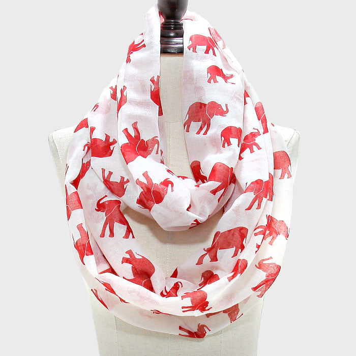White Infinity Scarf with Crimson Elephants