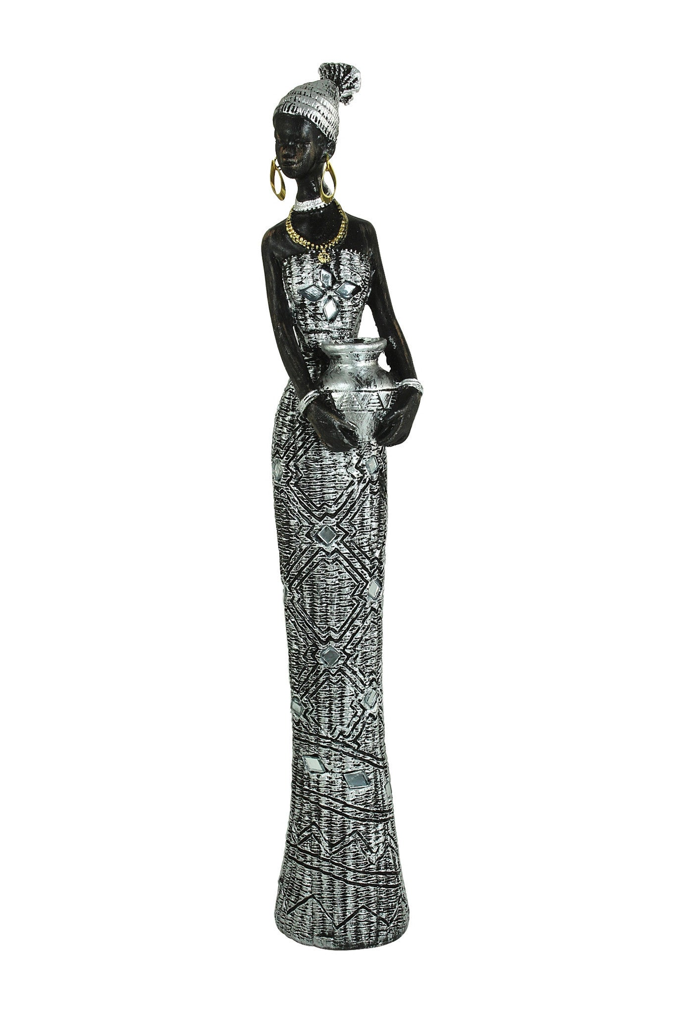 Woman Carrying Vase: Silver Mosaic Collection