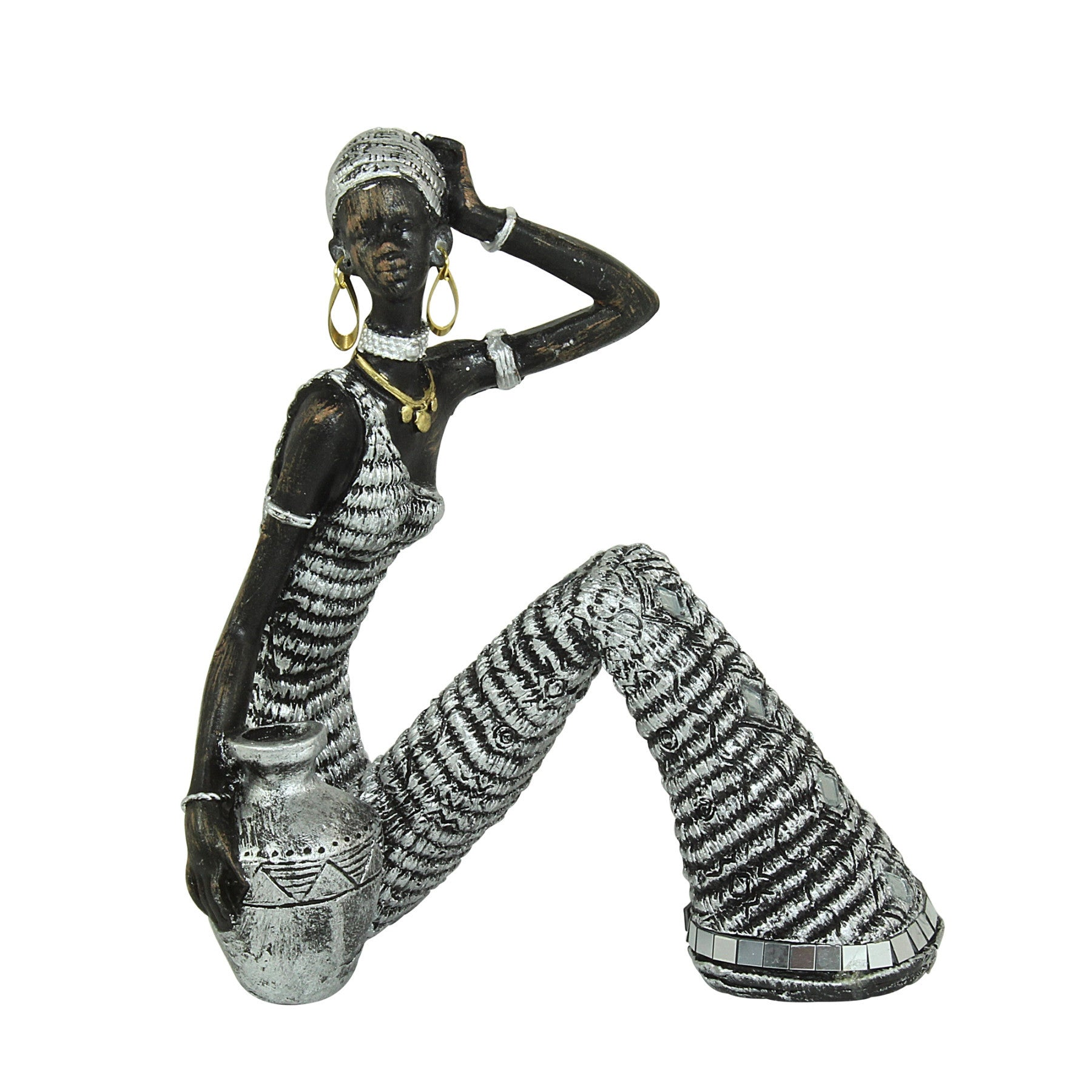Woman Sitting and Posing with Vase: Silver Mosaic Collection