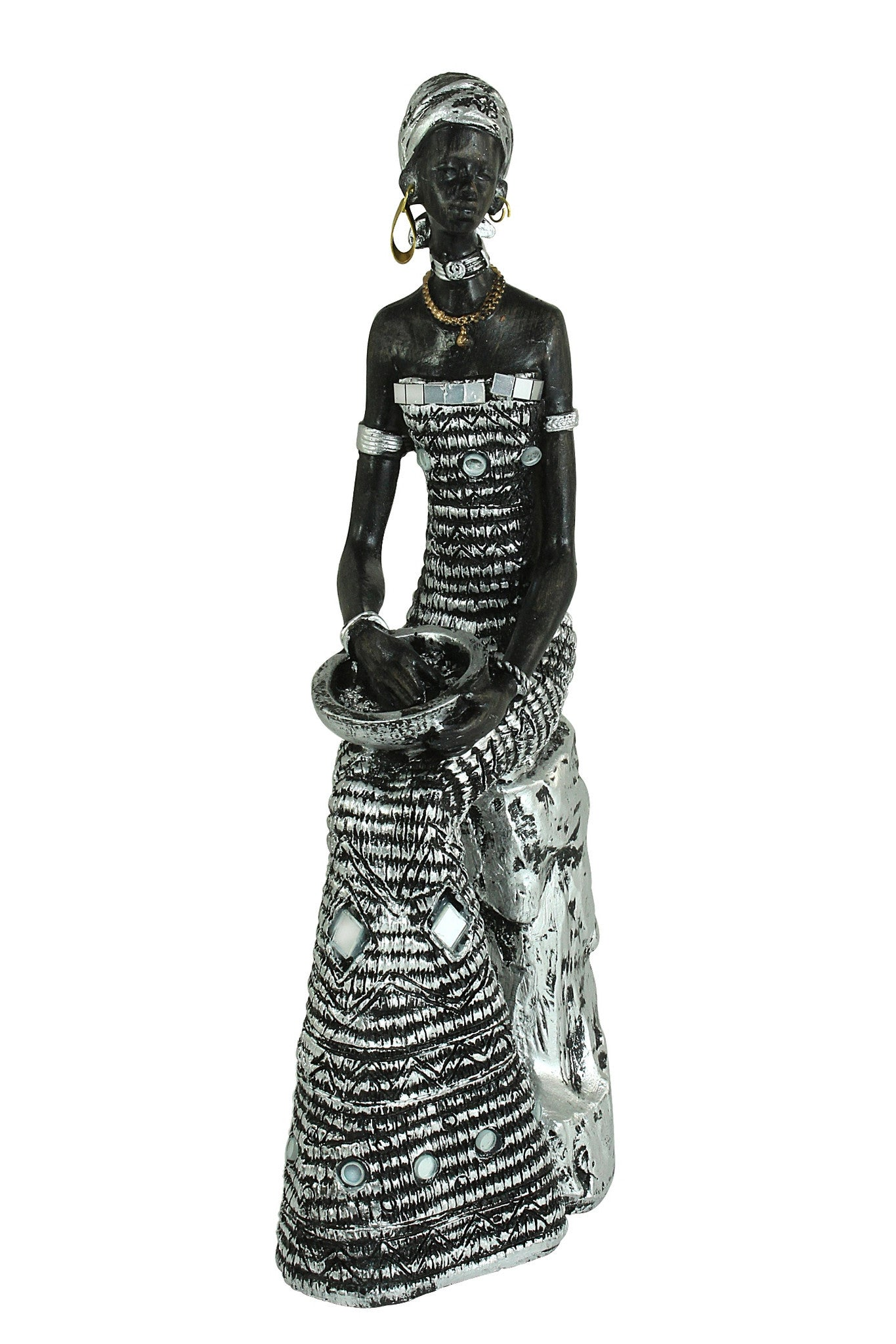 Woman Sitting on Stool: Silver Mosaic Collection