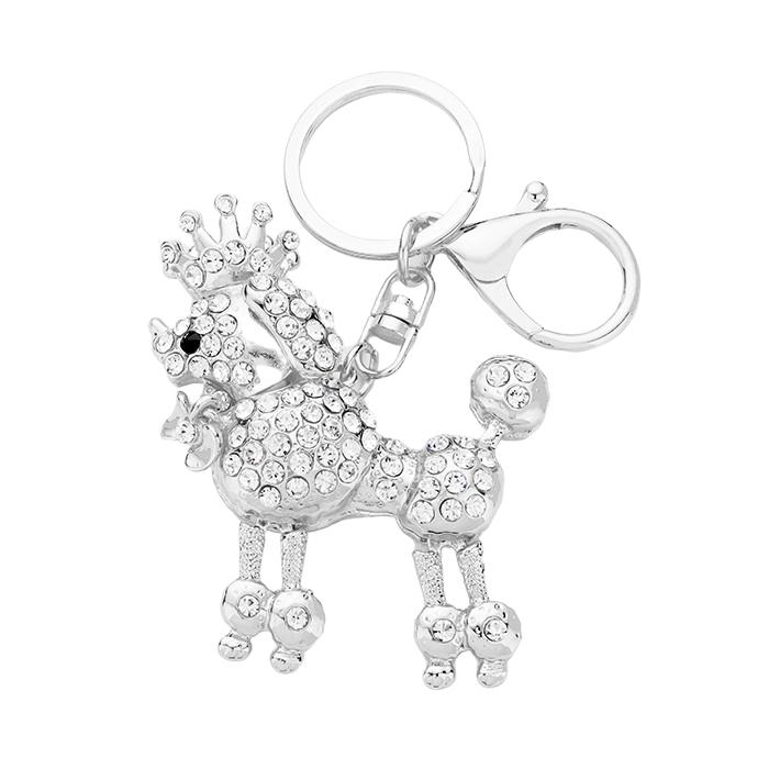 Sigma Gamma Rho Inspired Sparking Crystal Rhoyalty Poodle Key Chain