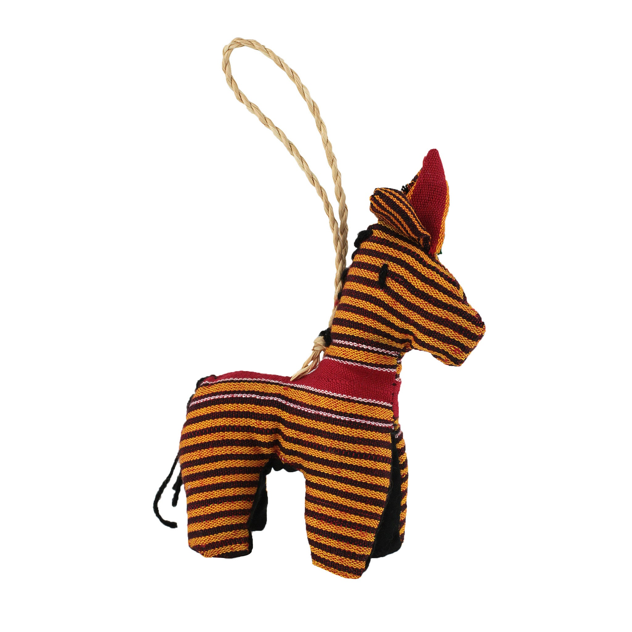Hand Sewn Ugandan Kikoy Fabric Stuffed Zebra Christmas Ornament