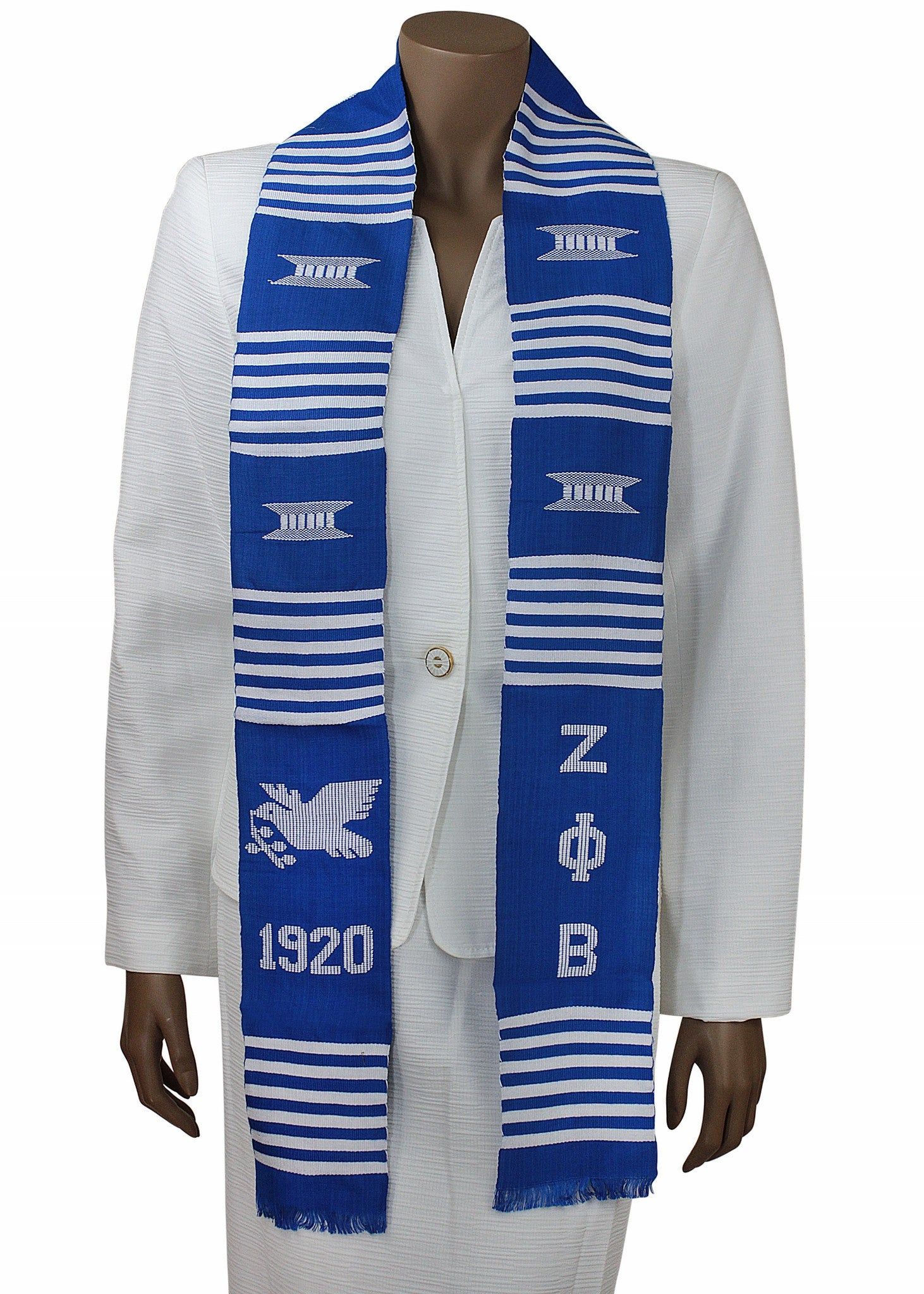 Zeta Phi Beta Blue Dove Kente Stole by Gold Coast Africa