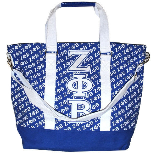 Zeta Phi Beta Blue Canvas Hand Bag by Big Boy Headgear (Front)