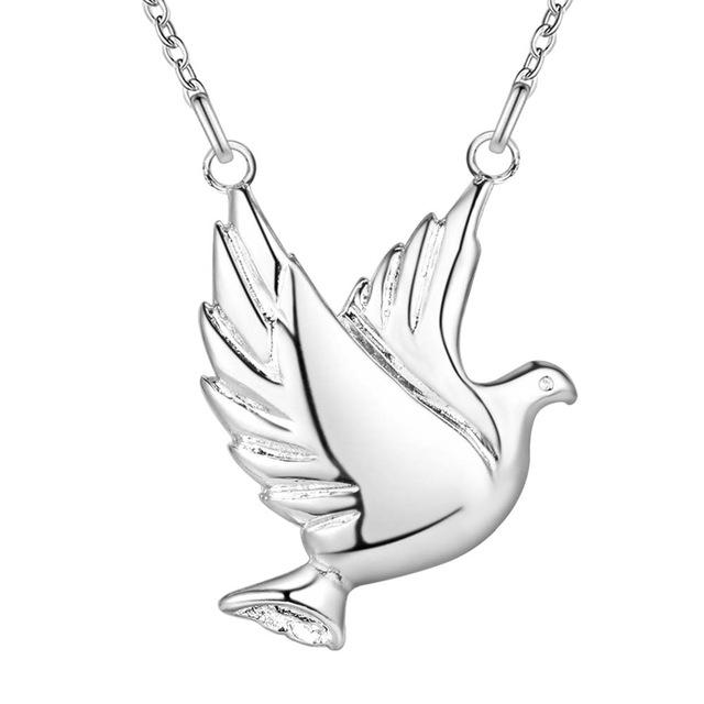 Zeta Phi Beta Inspired Silver Toned Dove Pendant Necklace 18 Inches
