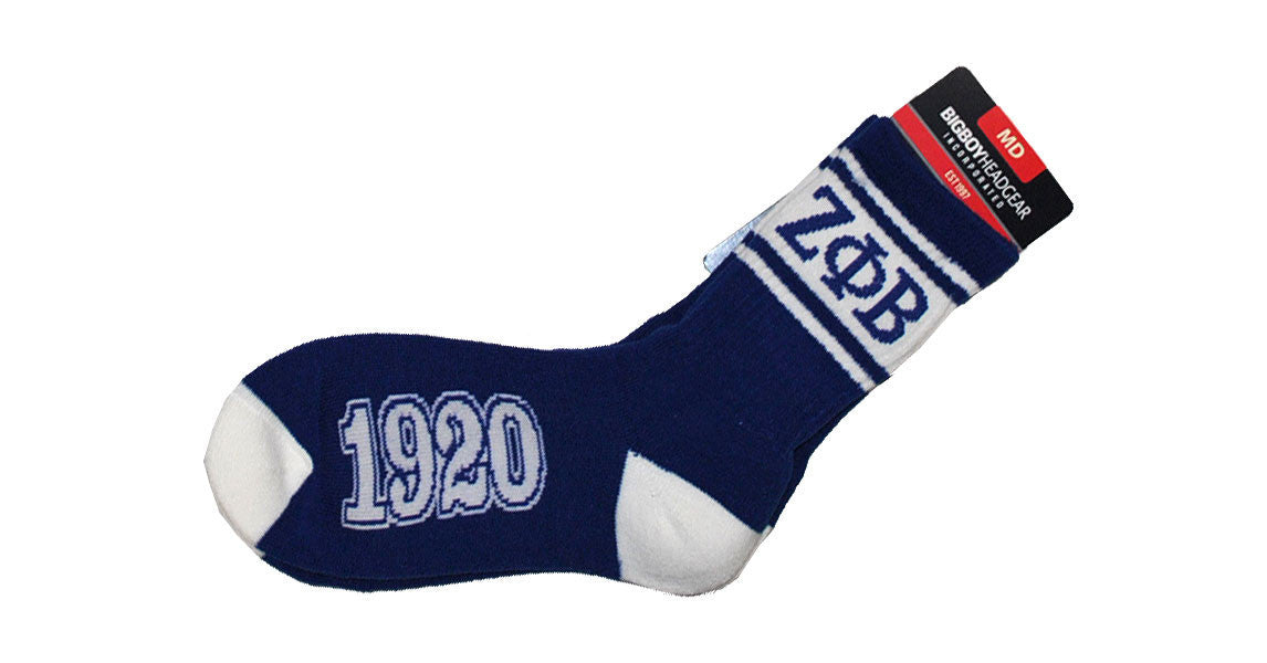 Zeta Phi Beta Socks (Blue) by Big Boy Headgear