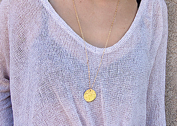 Large Hammered Disc Necklace