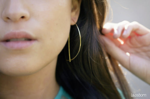 Threader Half Moon Hoop Earrings