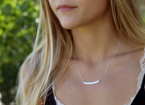 Silver Curve Bar Necklace