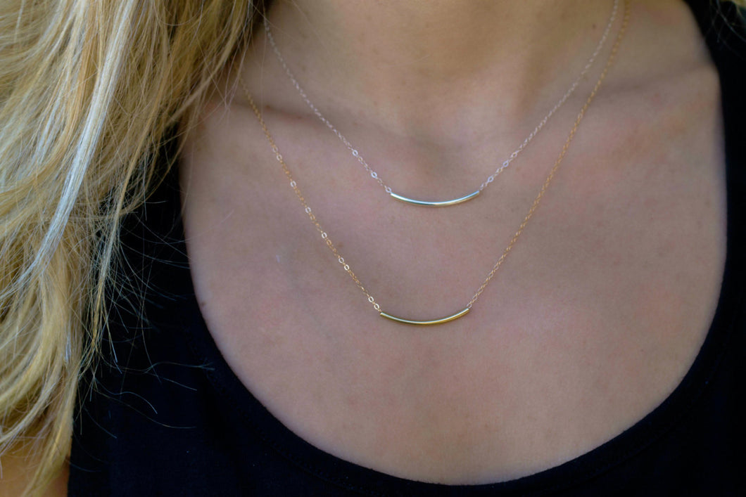 Delicate Curved Tube Necklace