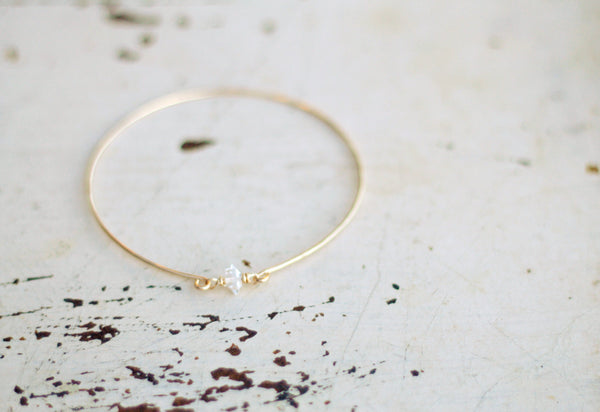 Herkimer Diamond Bangle Bracelet