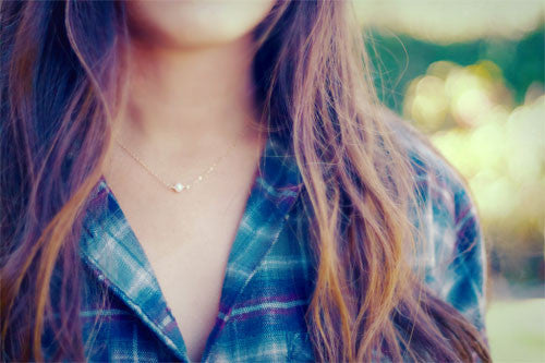 Tiny White Pearl Necklace