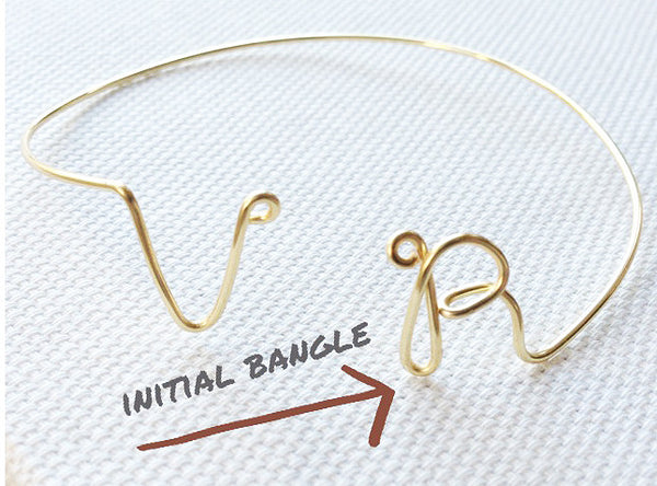 Personalized Two Initial Wire Bangle