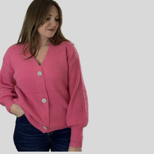 Load image into Gallery viewer, Fuchsia Diamanté Button Cardi