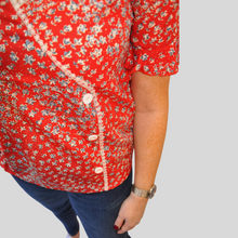 Load image into Gallery viewer, Isabella Red Side Button Blouse