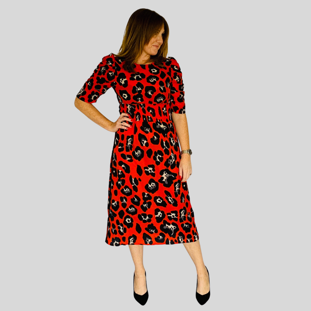 Aurora Midi Dress - Red