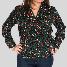 Load image into Gallery viewer, Green Leopard Wrap Shirt
