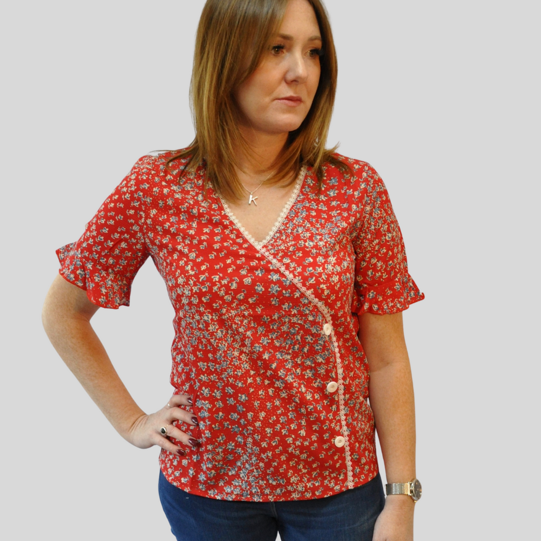 Isabella Red Side Button Blouse
