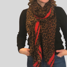 Load image into Gallery viewer, Dark Leopard Print Scarf
