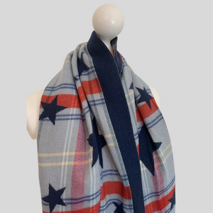 Allstar Reversible Check Scarf - Navy