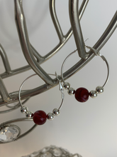 Load image into Gallery viewer, Red Bead Hoop Earrings