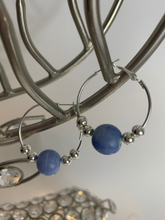 Load image into Gallery viewer, Baby Blue Bead Hoop Earrings