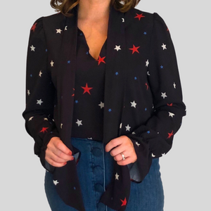 Navy Star Tie Neck Shirt