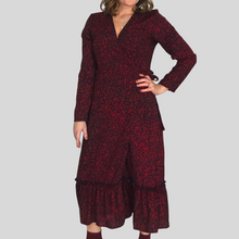 Load image into Gallery viewer, Leopard Print Wrap Midi Dress