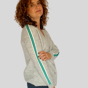 Grey Side Stripe Preppy Cardigan