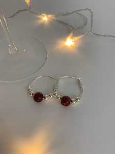 Red Bead Hoop Earrings