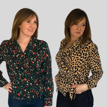Load image into Gallery viewer, Beige Leopard Wrap Shirt