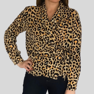 Green Leopard Wrap Shirt