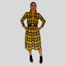 Load image into Gallery viewer, Mustard Check Shirt Dress