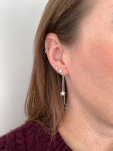 Load image into Gallery viewer, Silver Star Drop Earrings