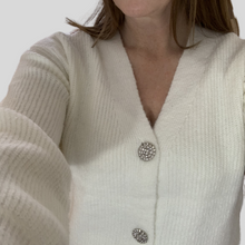 Load image into Gallery viewer, Cream Diamanté Button Cardi