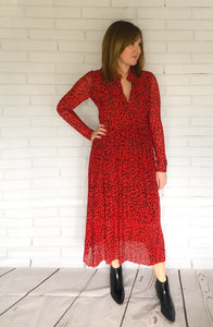 Red Leopard Print Sheer Dress
