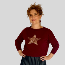 Load image into Gallery viewer, Burgundy/Gold Star Jumper