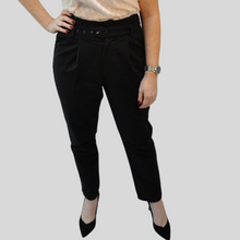 Load image into Gallery viewer, Black Linen Style High Waist Trousers