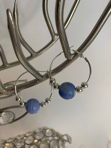 Baby Blue Bead Hoop Earrings