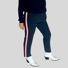 Load image into Gallery viewer, Navy Side Stripe Trousers